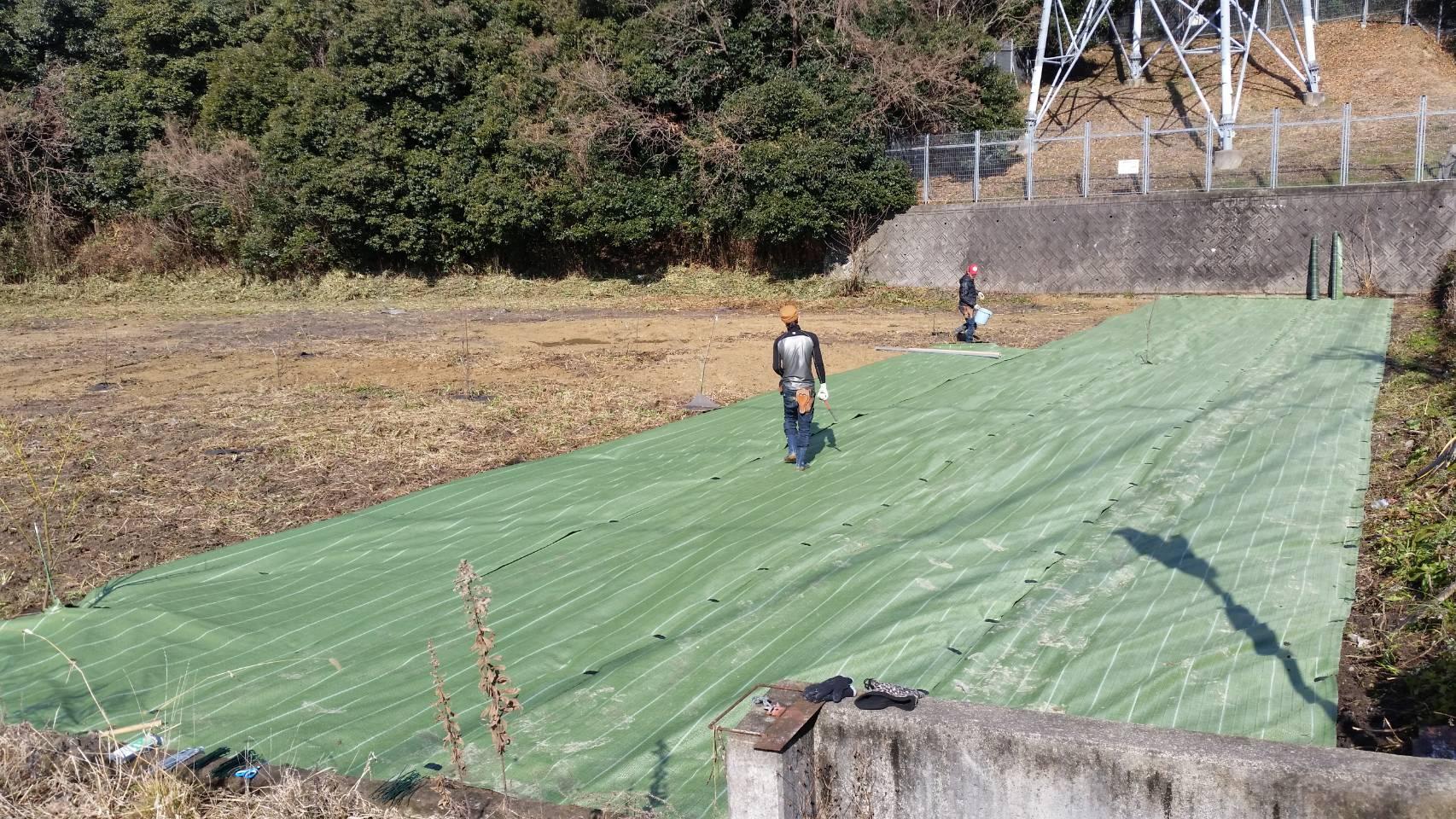 防草シート作業